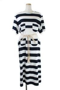 アキラナカ AKIRA NAKA Rut stripe Tee dress ロングワンピース ホワイト ネイビーの買取実績