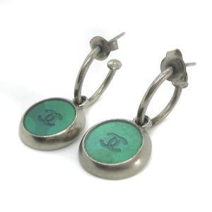 シャネル CHANEL ヴィンテージ ピアス フープ ラウンド ココマーク ヴィンテージ 真鍮 シルバー 緑の買取実績