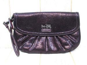 b12158ffff19 コーチ COACH クラッチバッグ マディソン リストレット ポーチ 43311 光沢 紫 パープル系 美品