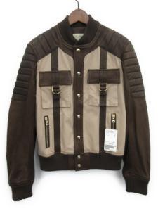 16SS BLOUSON SAFARI BI MATERIAL レザー切り替えジャケット