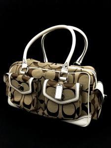9b44a5ce4d04 コーチ COACH シグネチャー ボストンバッグ 鞄 キャンバス×レザー ベージュ/ホワイト 茶 白 1847 SSAW